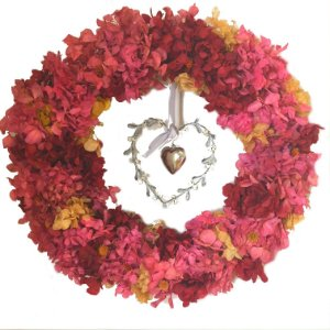 Guirlanda flores secas e coração