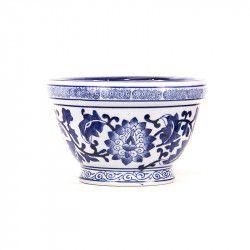 Vaso em cerâmica azul e branca