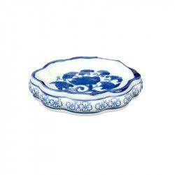 Saboneteira azul e branca em cerâmica