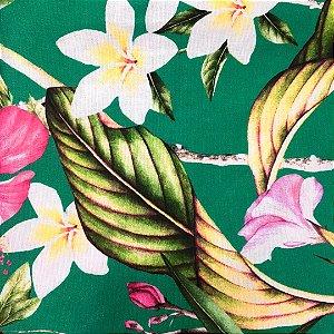 Guardanapo floral com fundo verde