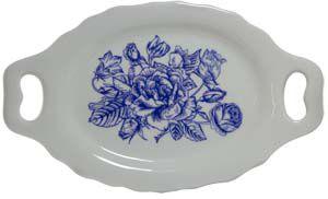 Bandeja alça flores azuis P