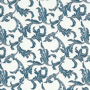 Guardanapo em tecido branco com arabesco azul