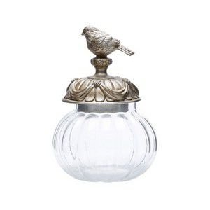 Potiche de vidro com tampa de resina com pássaro