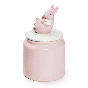 Pote com coelho na tampa rosa