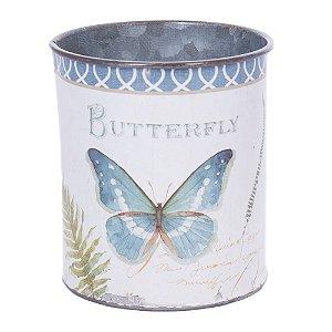 Mini vaso em metal borboleta azul