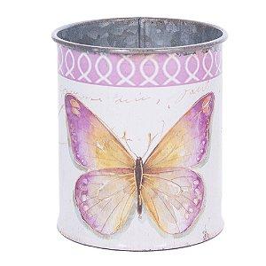 Mini vaso em metal borboleta rosa