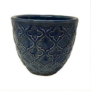Cachepot em cerâmica azul P