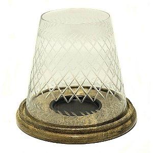 Porta vela em vidro lapidado com base de madeira