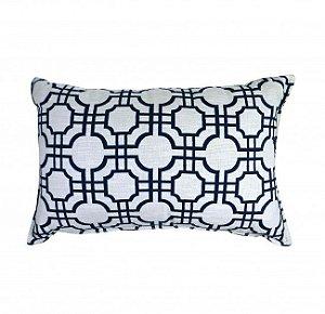 Almofada estampa geométrica branca e azul