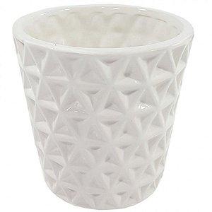 Vaso em cerâmica geométrico branco M