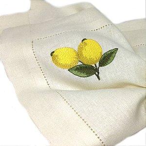 Guardanapo em linhão com ajour estampa limão siciliano