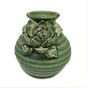 Vaso em cerâmica verde com flor 01