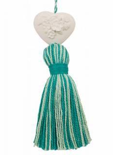Coração de gesso para perfumar cpm pingente verde e azul