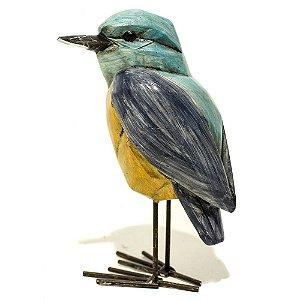 Pássaro decorativo azul e amarelo