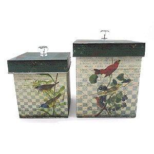 Conjunto de caixas em metal com estampa de pássaros