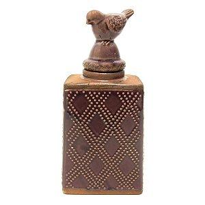 Pote em cerâmica vinho com pássaro na tampa