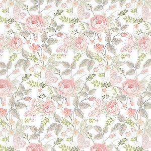 Guardanapo em tecido estampa flores e borboletas