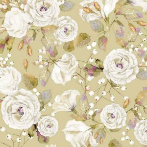 Guardanapo em tecido com estampa de flores brancas