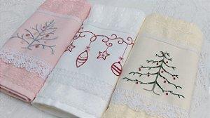 Conjunto toalhas de mão bordadas Natal