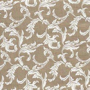Guardanapo em tecido bege com arabescos brancos