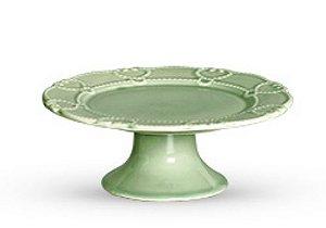 Porta petit four em cerâmica verde celadon
