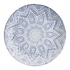 Prato de sobremesa em cerâmica mandala azul e branca