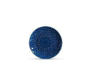 Prato de sobremesa em cerâmica azul