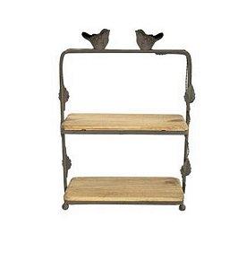 Suporte de metal e madeira bird retangular