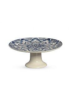 Porta petit four azul e branco em cerâmica