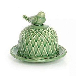 Manteigueira em cerâmica verde lala