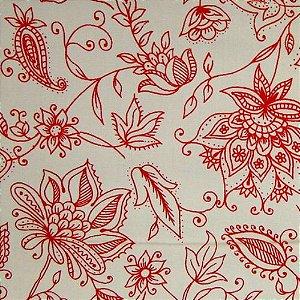 Guardanapo bege estampa floral vermelha