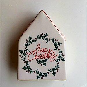 Casinha de cerâmica Merry Christmas