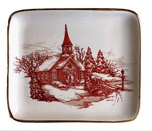 Prato em cerâmica cenas de Natal