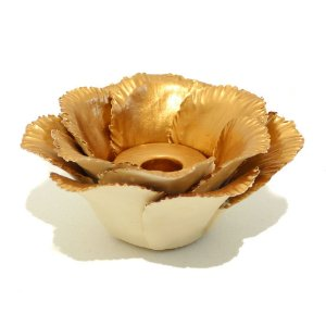 Porta vela flor em cerâmica cobre G