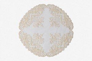 Cobre jarras em tule off white com renda e pedrarias