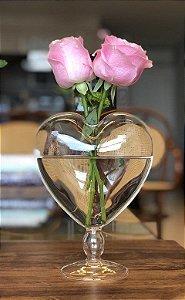 Vaso coração de vidro