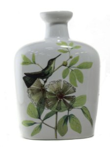 Garrafa cerâmica pássaro e flores