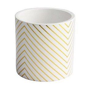 Vaso branco com listras douradas
