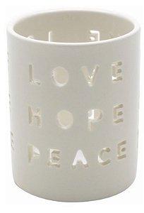 Castiçal em porcelana love hope peace