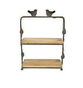 Estante para bancada em ferro e madeira com pássaro