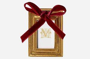 Mini porta retrato dourado com laço vermelho