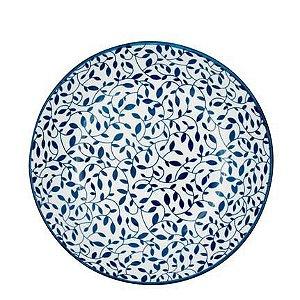 Prato porcelana floral azul e branco
