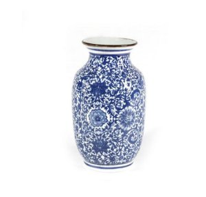 Vaso em cerâmica portuguesa azul e branco mod 2