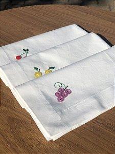 Trio guardanapos algodão com frutinhas