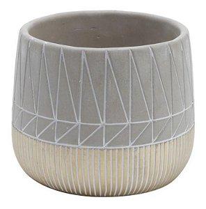 Vaso em concreto cinza e dourado inlined