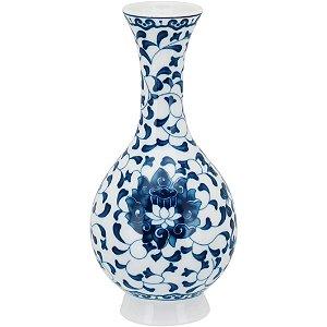 Vaso azul e branco floral P