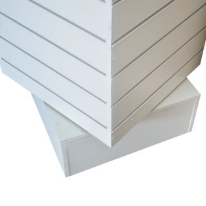 Gondola Expositora Giratória de Chão com Base Fixa de MDF 18mm Branco + Canaletas nos Trilhos + 50 Ganchos de 15 cm Branco  - 4  Lados  50 cm x 120 cm de Altura  - Pronta Entrega - Outras medidas sob encomenda whats  (11) 97143-1706