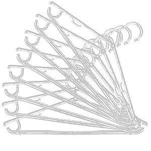Cabide Fixo Fino  Cavado Acrilico Cristal Virgem- Caixa  200 peças -20cm (altura) x 41cm (largura) x 8 mm(espessura)