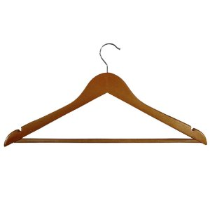 Cabide de Madeira Tradicional Adulto Marfim Escuro - CAIXA COM 50 PÇS- 23 cm (altura) x45cm (largura) x 2 cm (espessura)