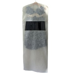 10 Capa para Vestido Bege com Visor Central 1,50 m x 55 cm - Lavável - Produto 100% Nacional - Fazemos sob medida whats (11) 97143-1706